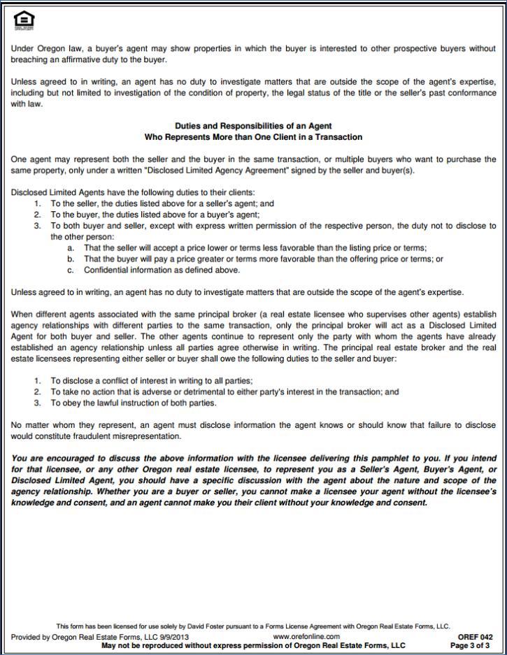 Oregon Real Estate Agency Disclosure
